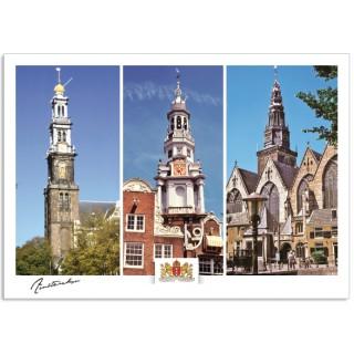 Amsterdam a17-001 ansichtkaart westerkerk zuiderkerk oudekerk