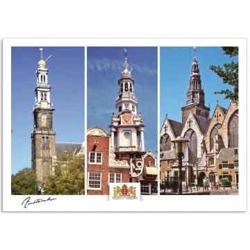 Amsterdam a17-001 postcard west church south church old church