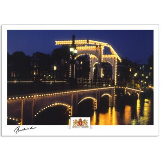 Amsterdam a17-005 Skinny bridge by night