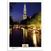 Amsterdam a17-008 Prinsengracht Westerkerk bij nacht.