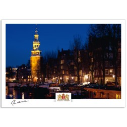Amsterdam a17-010 Montelbaan tower Oude Schans by night