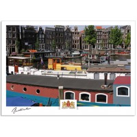 Amsterdam a17-014 House boats and canal houses