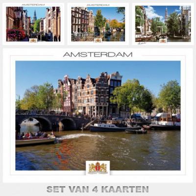 Postcards Amsterdam. Set with 4 postcards