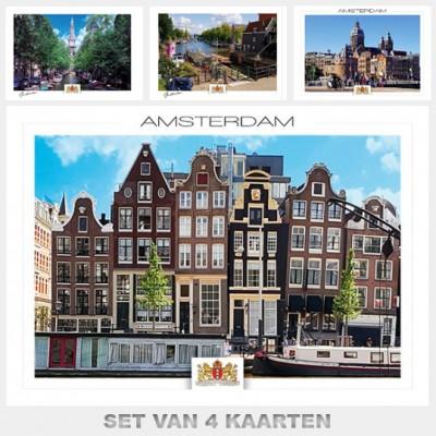 Postcards Amsterdam. Set B with 4 postcards