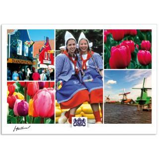 h17-001 ansichtkaart Holland houten huisjes tulpen kaasmarkt molens
