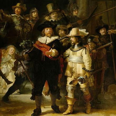 Art vk100 card. Night watch. Rembrandt van Rijn.