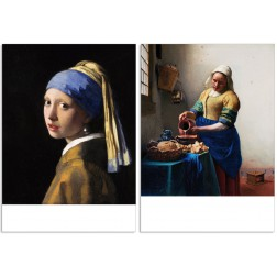 Art200 and Art201 postcard The Milkmaid and The girl with the Pearl Earring by Johannes Vermeer